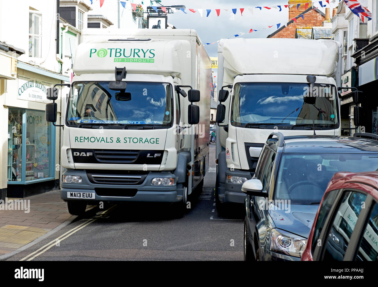 Traffic congestion in Sidmouth, Devon, England UK Stock Photo