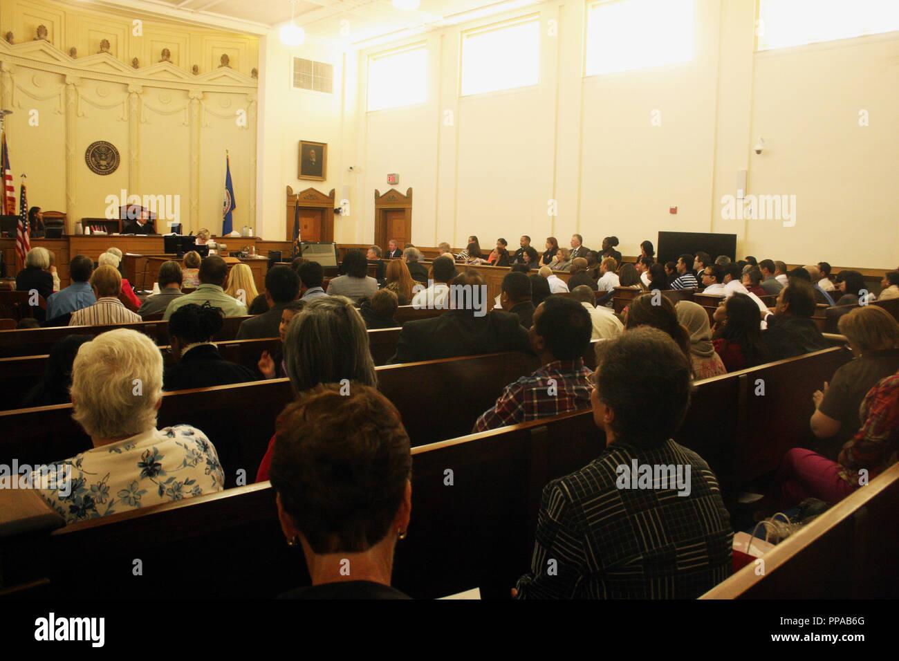 Speech during naturalization ceremony in Harrisonburg, Virginia - Stock Image