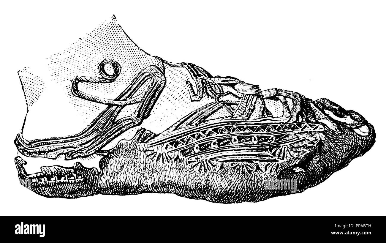 Ornate shoe from a bog body, found in a moor near Friedeburg in East Frisia. To Lindenschmit,   1893 - Stock Image