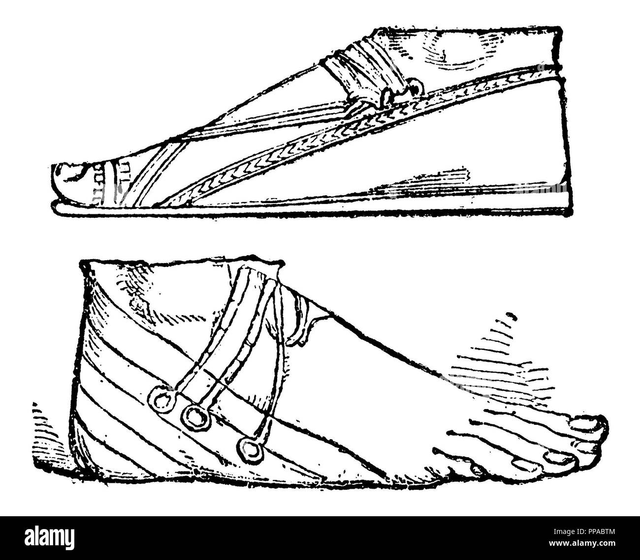 Assyrian sandals. After Layard,   1885 - Stock Image