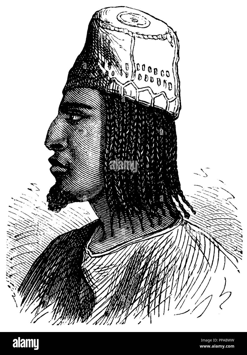 Portrait of a Fulde. After Lambert,   1874 - Stock Image