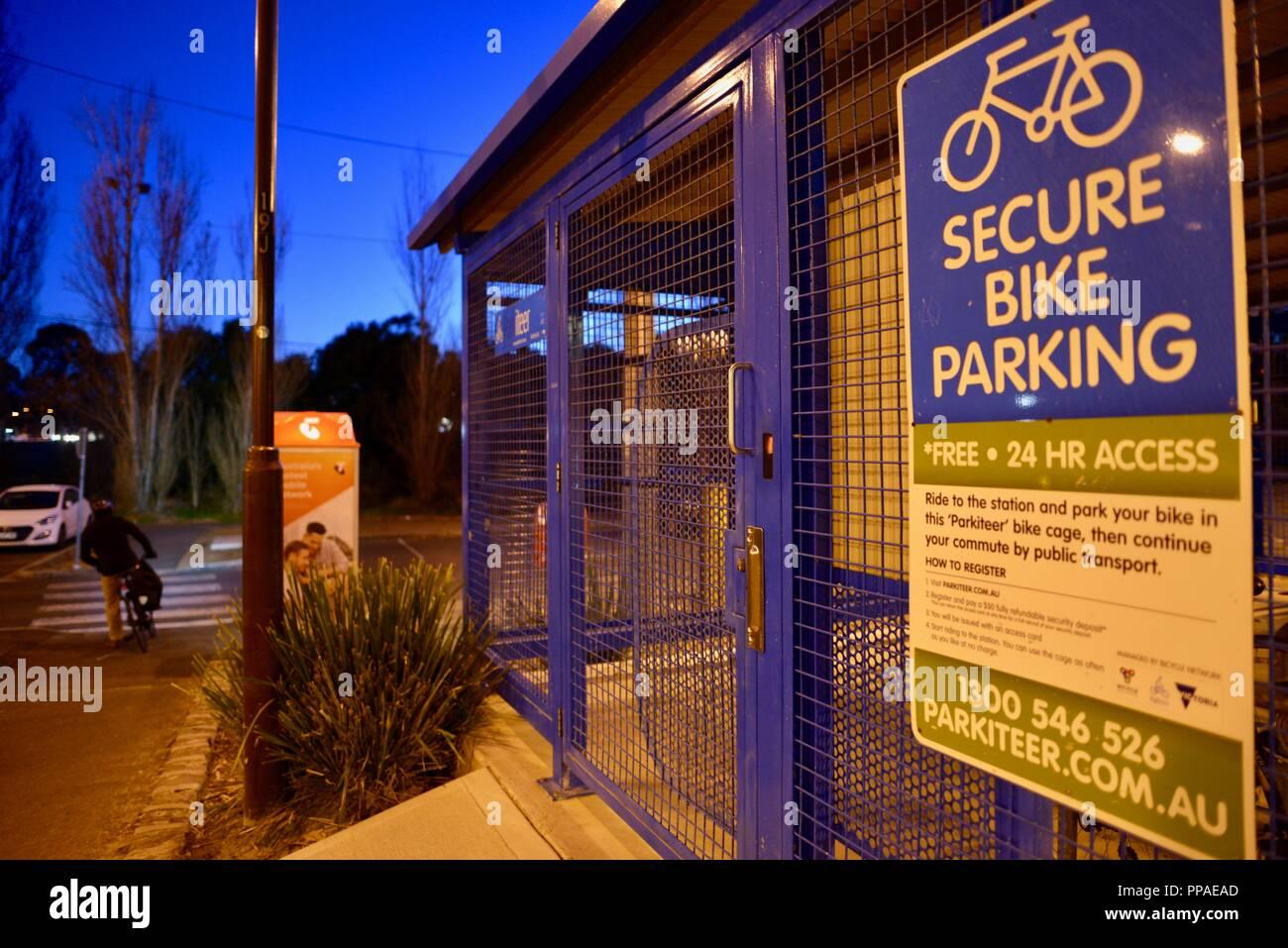 Secure bike parking facility, Melbourne VIC, Australia - Stock Image