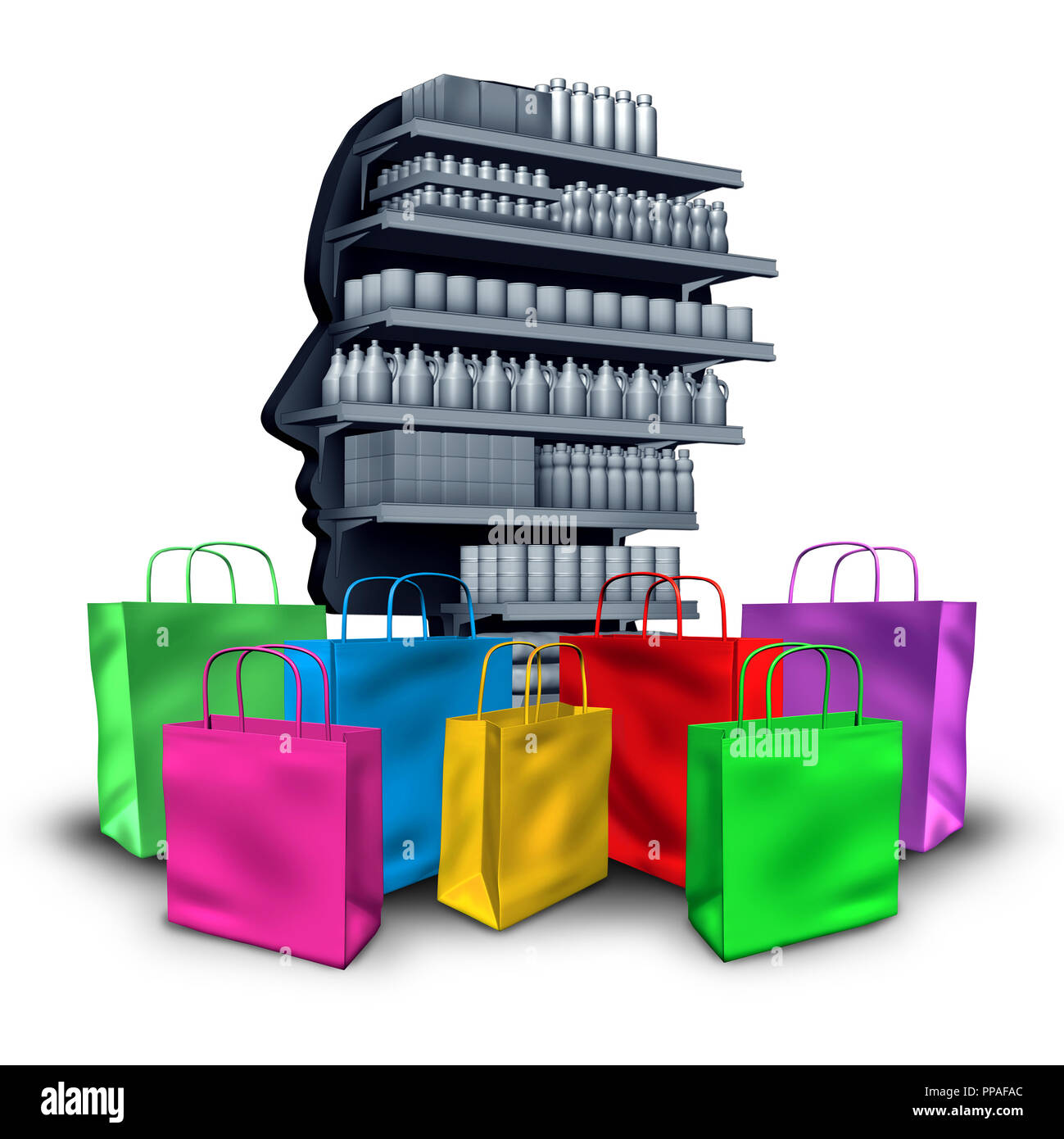 Spending concept consumerism and material possessions concept as the desire to buy and possess objects as a shopaholic idea of greed. - Stock Image