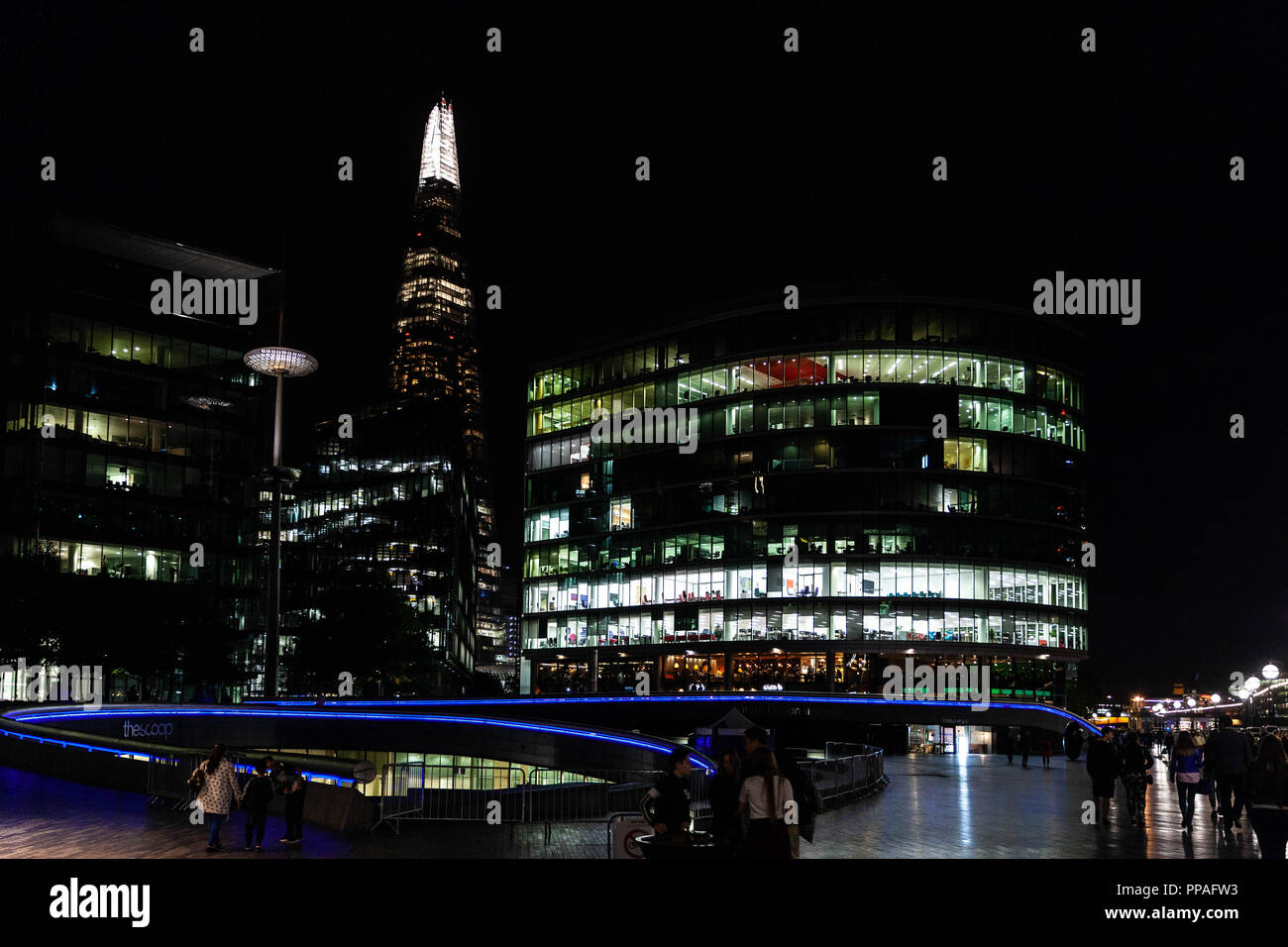 Buildings around Southwark at night, South Bank, London, England, UK. - Stock Image