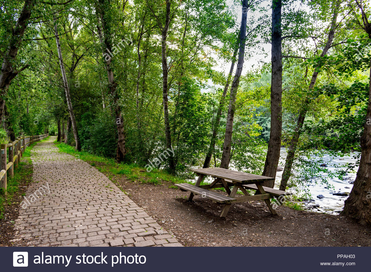 Wondrous Picnic Table And Bench In A Mountain Path Next To The River Machost Co Dining Chair Design Ideas Machostcouk