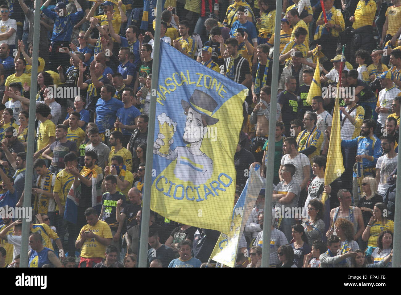 Frosinone / Italy - May 16, 2015: Canary fans at the stadium in the match that will promote the team in Serie A - Stock Image