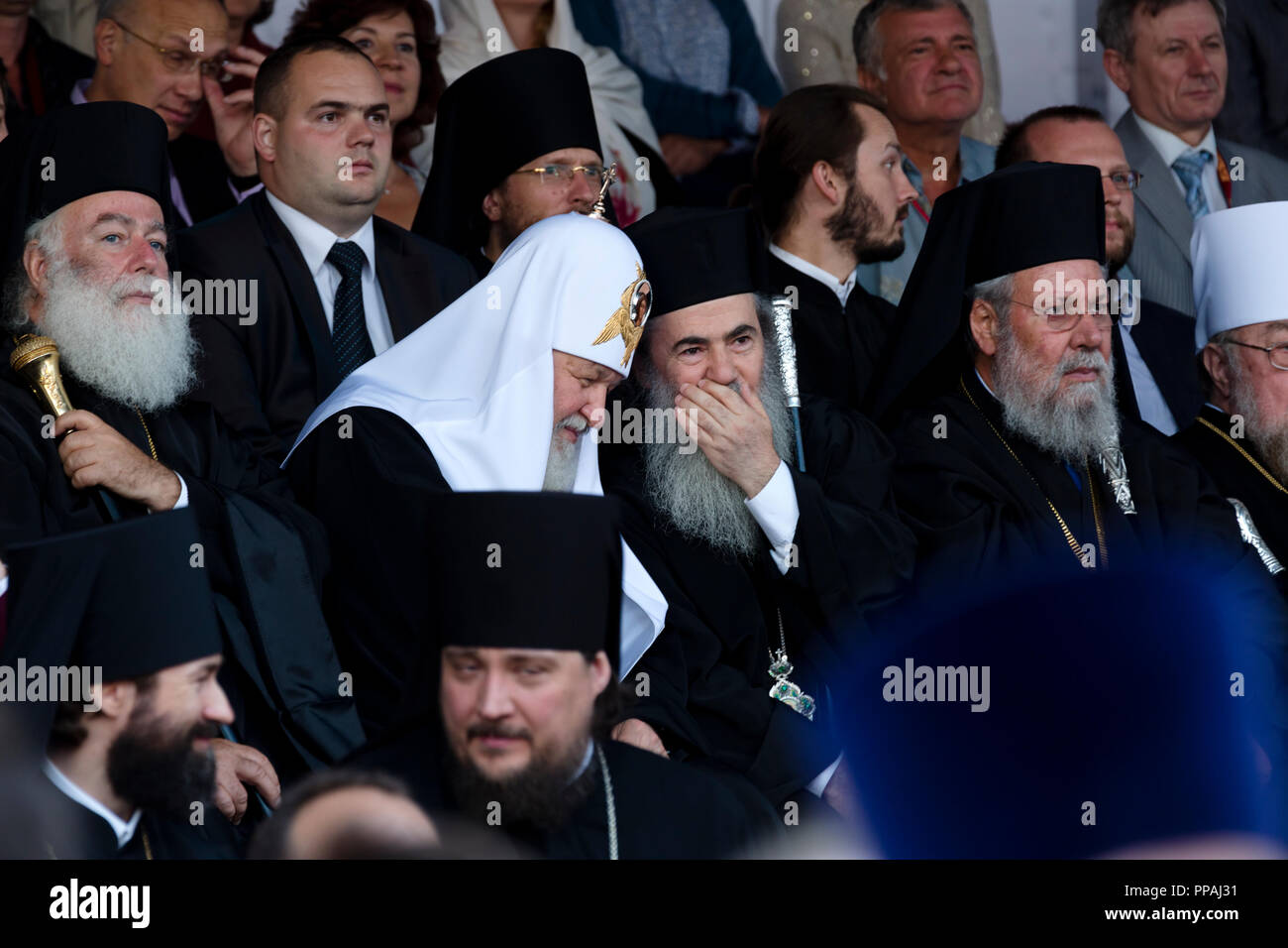 Patriarch Kirill of Moscow and All Russia at a concert marking Day of Slavic Written Language and Culture in Moscow's Red Square, Russia - Stock Image