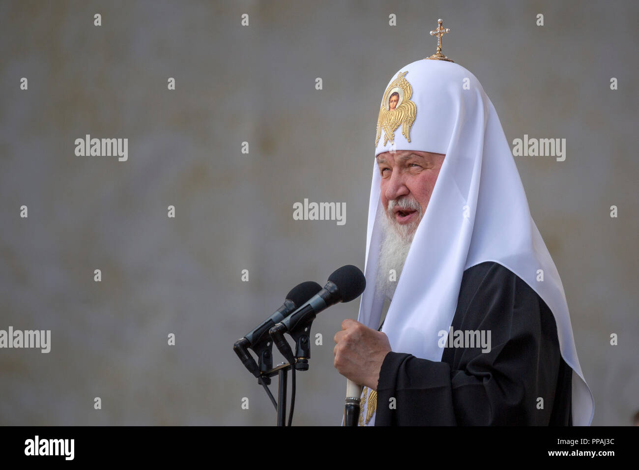 Patriarch Kirill of Moscow and All Russia speaks at a concert marking Day of Slavic Written Language and Culture in Moscow's Red Square, Russia - Stock Image