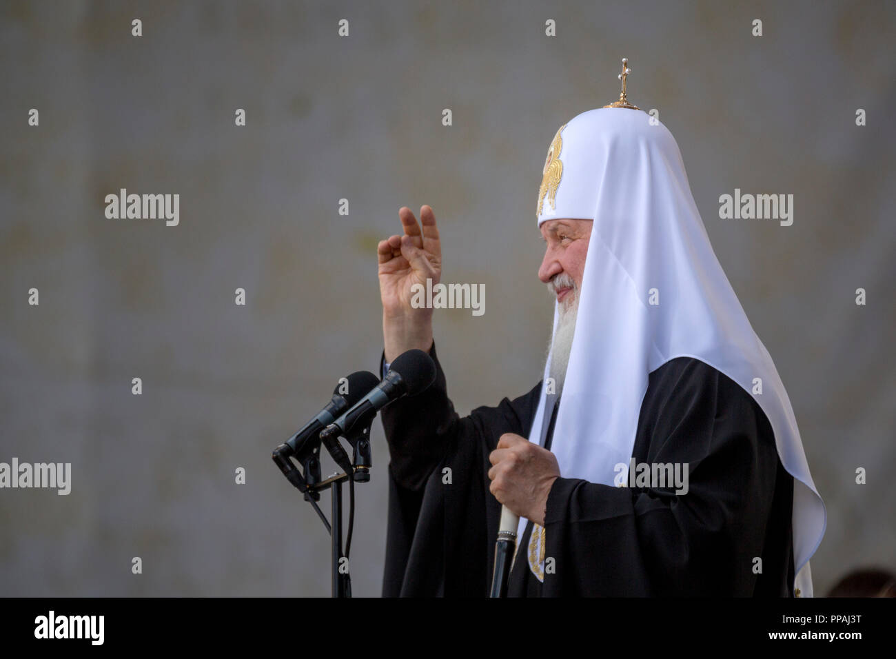 Patriarch Kirill of Moscow and All-Russia speaks from the stage of a concert marking the 1025th anniversary of the adoption of Christianity by Kievan - Stock Image