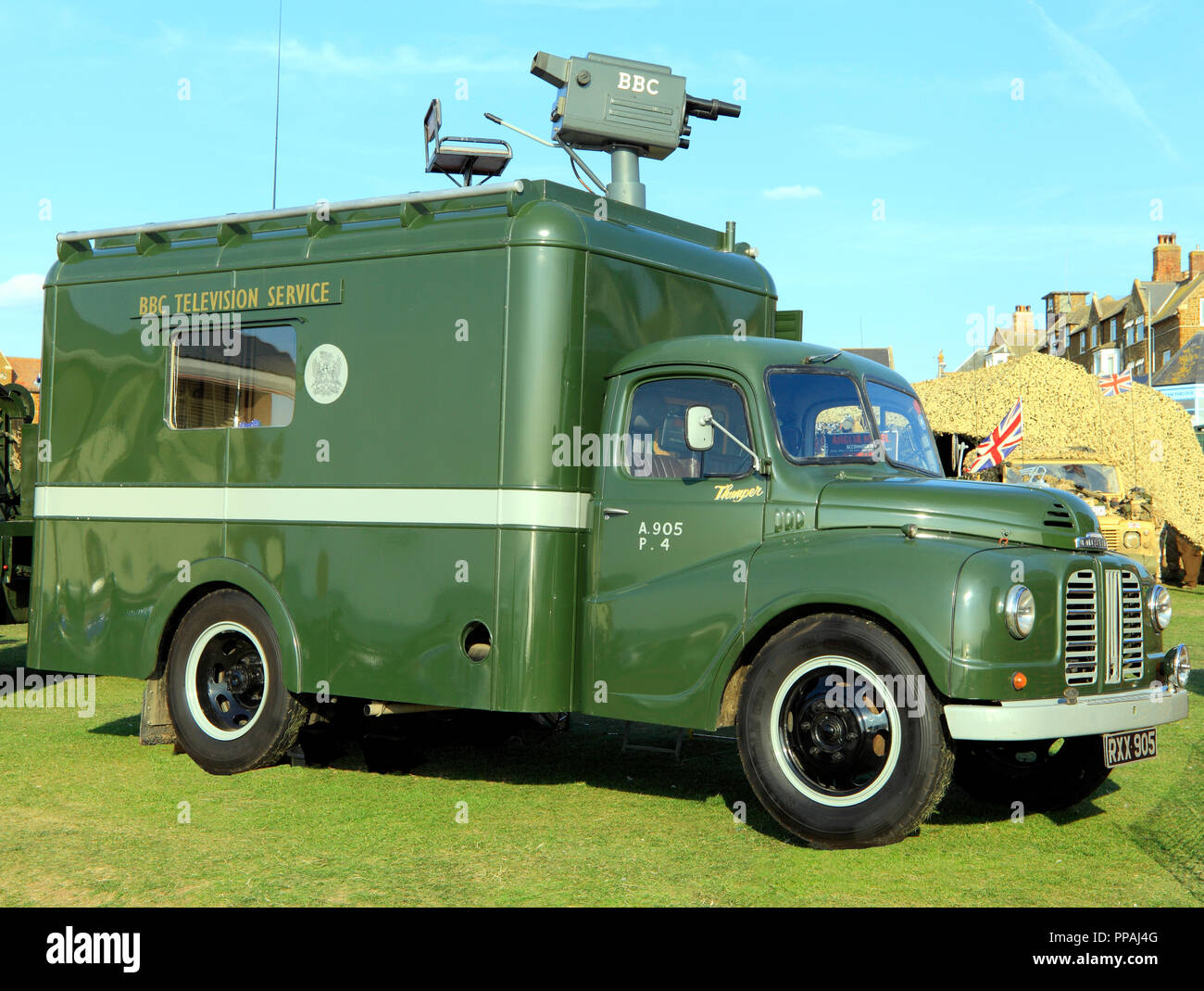 BBC Television, van, camera, outside broadcast, vintage, 1950s - Stock Image