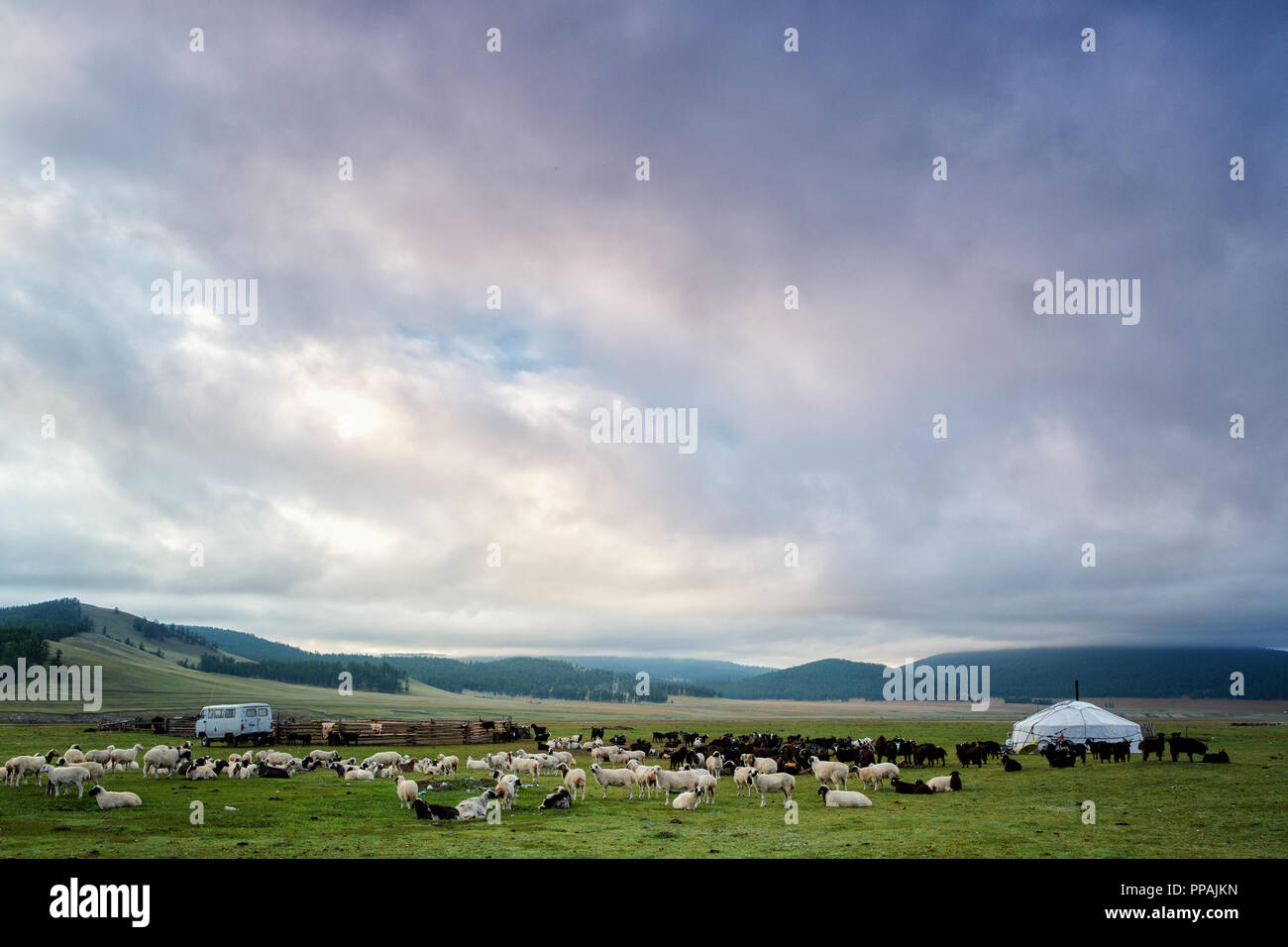 Dramatic sky over a Nomad Camp at lake khovsgol, Khatgal, Mongolia - Stock Image