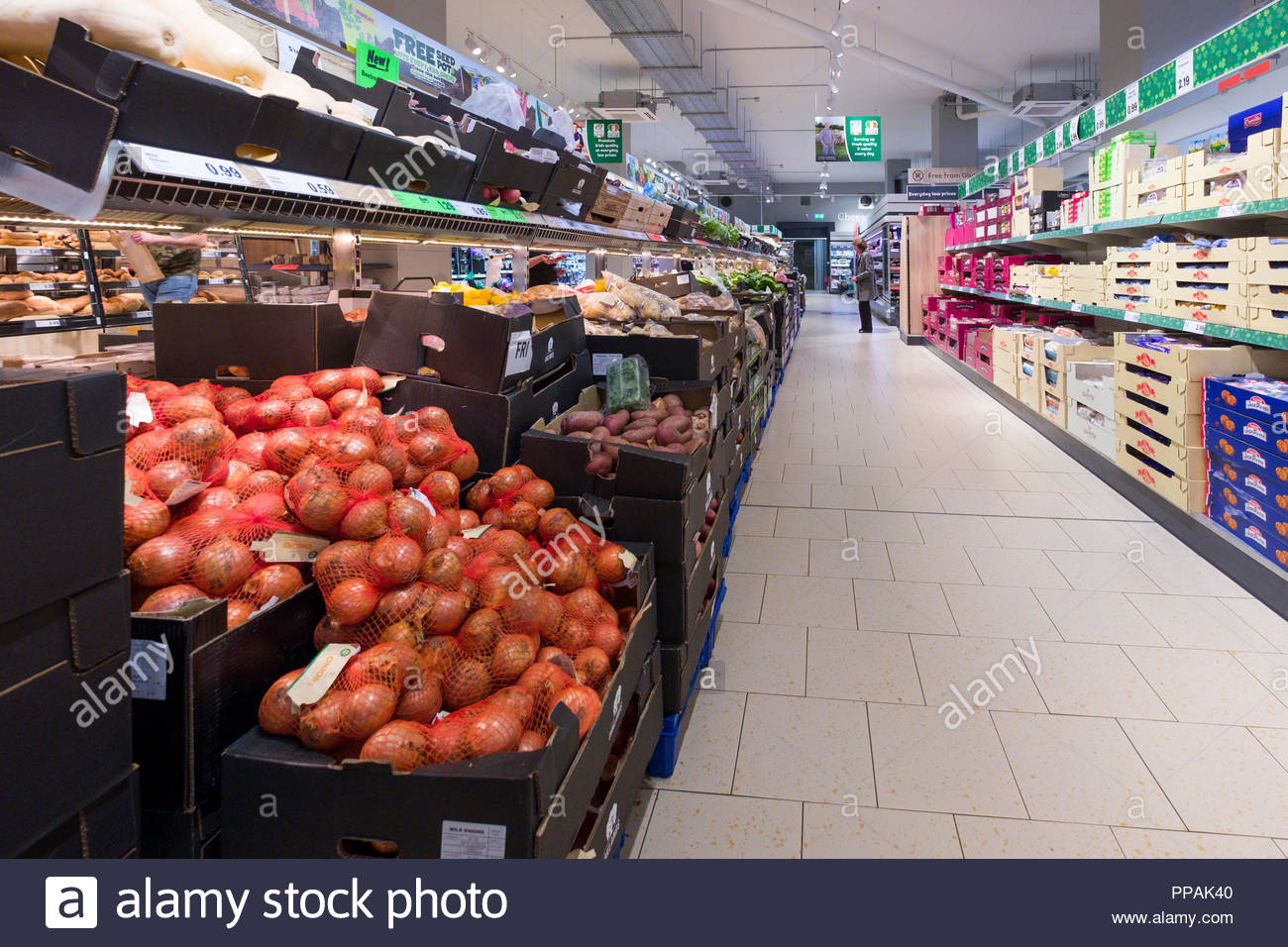 Fresh produce and baked goods inside Lidl discount