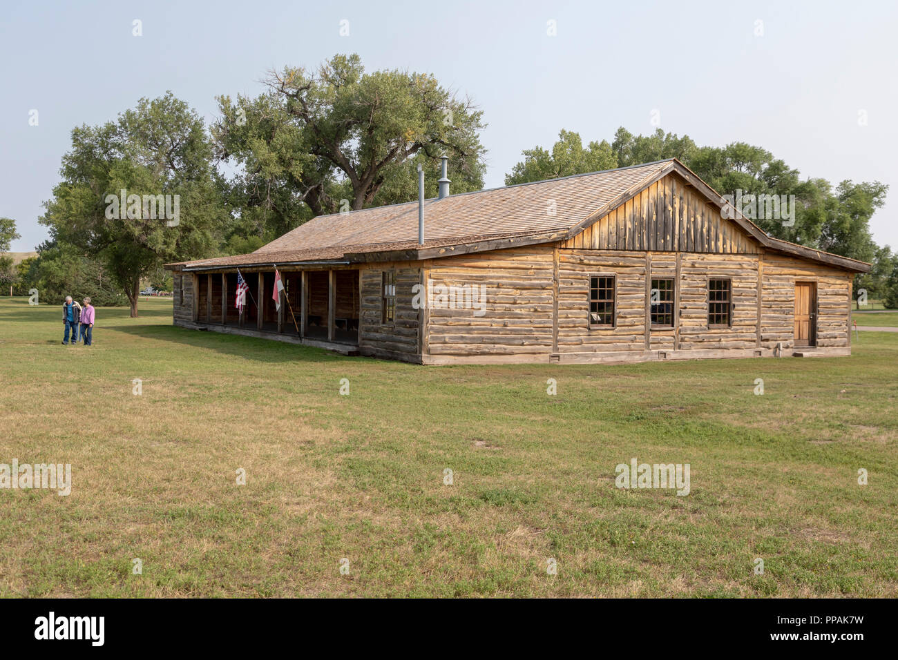 Crawford, Nebraska - The site of the original cavalry barracks at Fort Robinson State Park. (The existing building is a reproduction.) Fort Robinson i - Stock Image