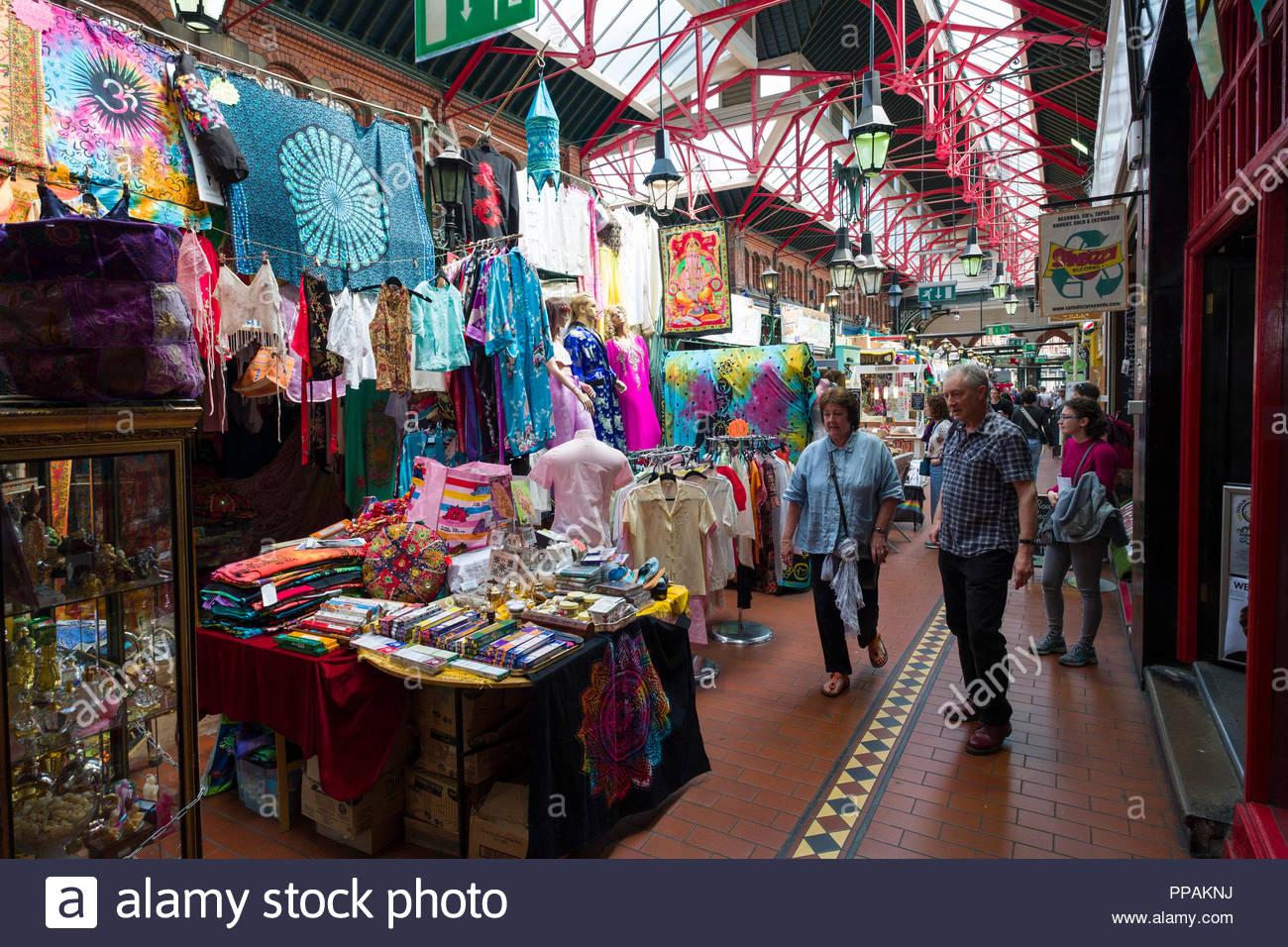 Stalls selling various items inside George's Street Arcade, Dublin, Leinster, Ireland Stock Photo