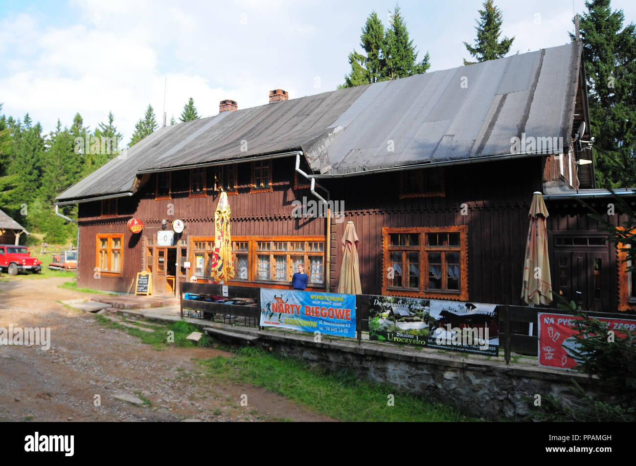 Mountain shelter 'Sowa' in Góry Sowie (Owl Mountains)(Eulengebirge) Poland 2018 - Stock Image