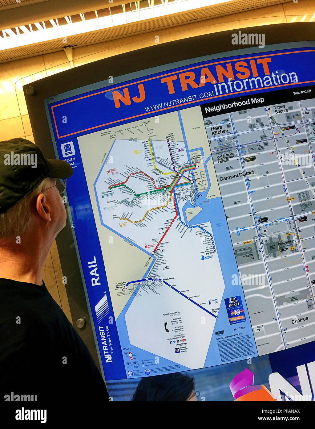 New Jersey Transit Map, Penn Station, NYC Stock Photo: 220283138 - Alamy