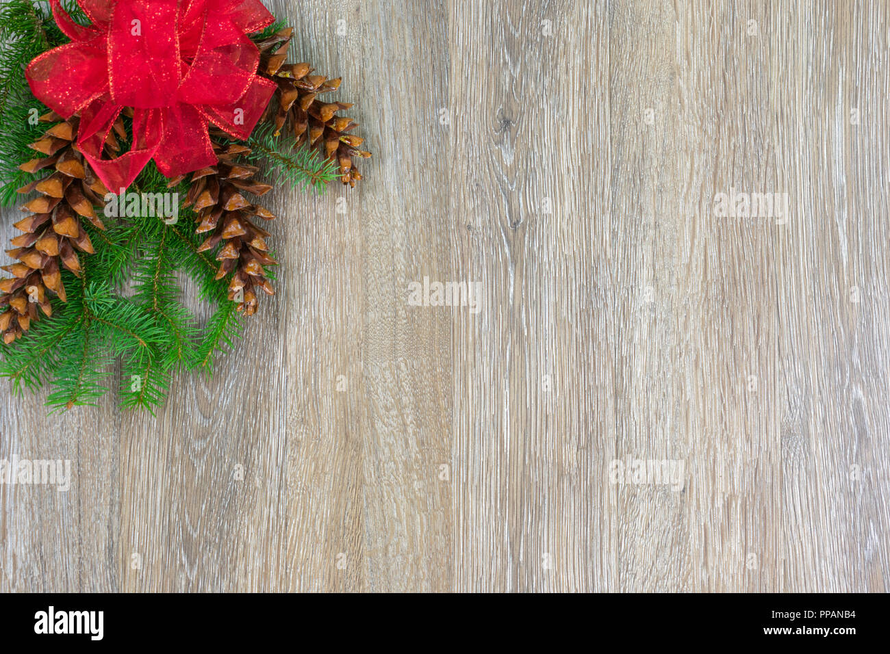 A red bow and three white pine cones on spruce boughs with copy space Stock Photo