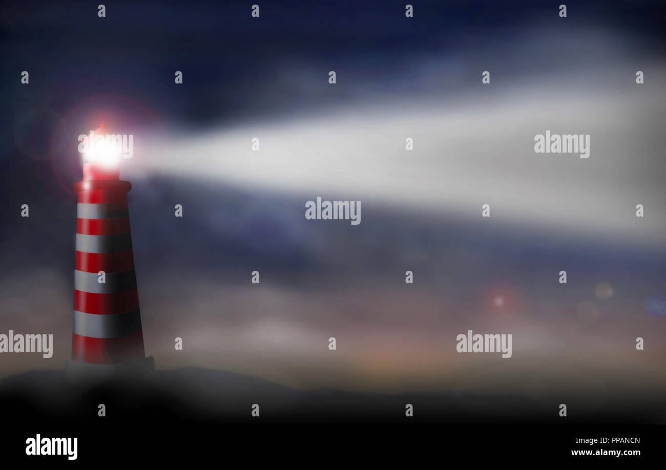 A lighthouse in red and white is seen shining brightly on a foggy night. This is a fictional scene of a guiding light. This is an illustration. - Stock Image