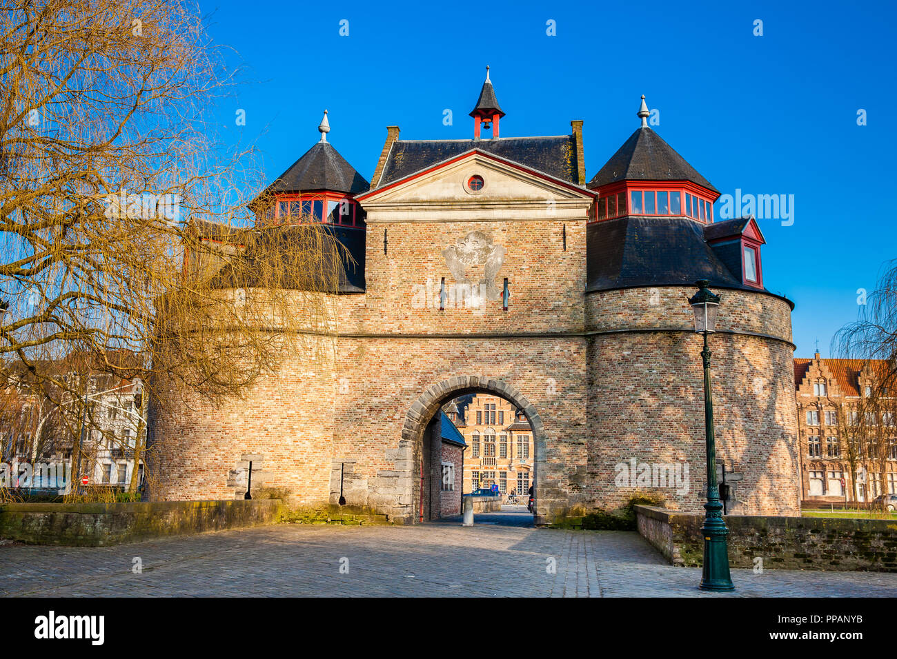 The antique Donkey's gate built during the construction of the second ring of ramparts in Bruges Stock Photo