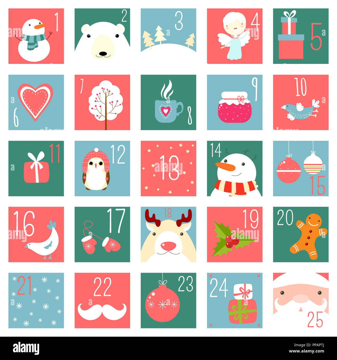 Christmas advent calendar with elements in naive hand drawn style. Set of winter holiday xmas icons with Santa Claus, polar bear, gifts, snowman, snow - Stock Image