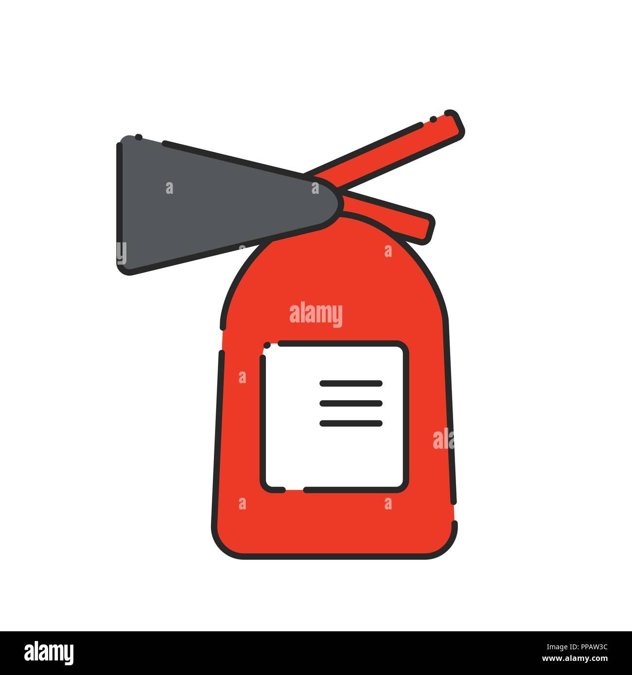 Flat extinguisher icon. Vector illustration. Fire safety - Stock Image