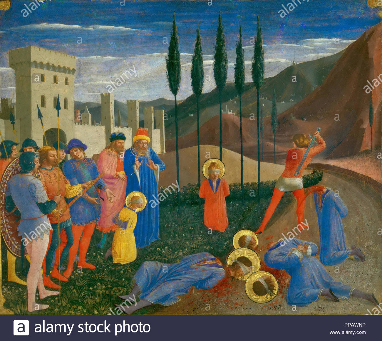 The Beheading of Saint Cosmas and Saint Damian. Museum: Musee du Louvre, Paris. Author: FRA ANGELICO. - Stock Image