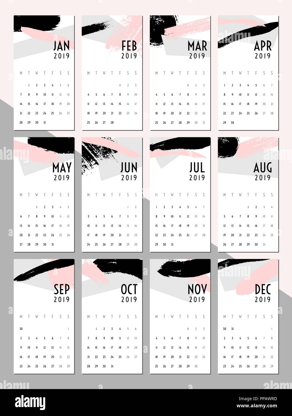 Printable 2019 Calendar Template Abstract Design With Textured