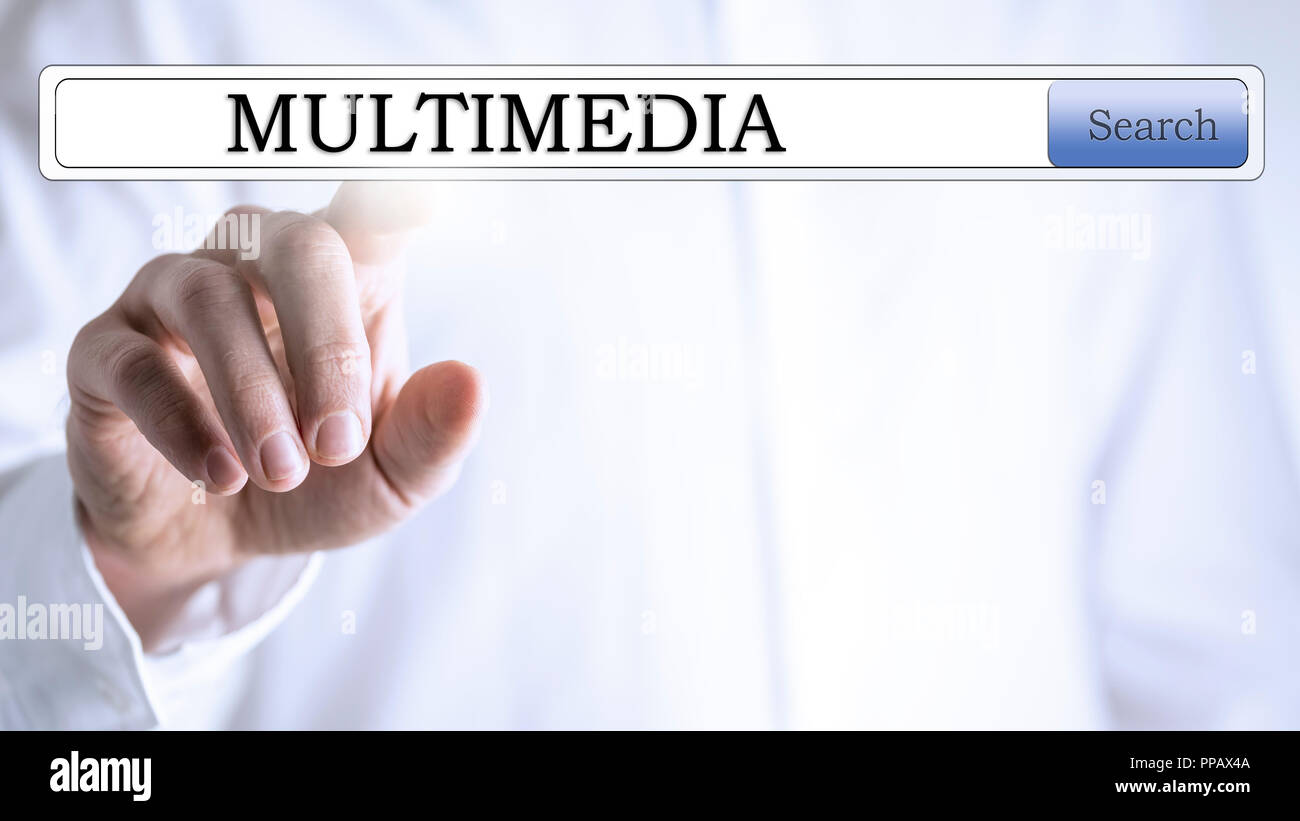 Multimedia written in search box on virtual space. - Stock Image
