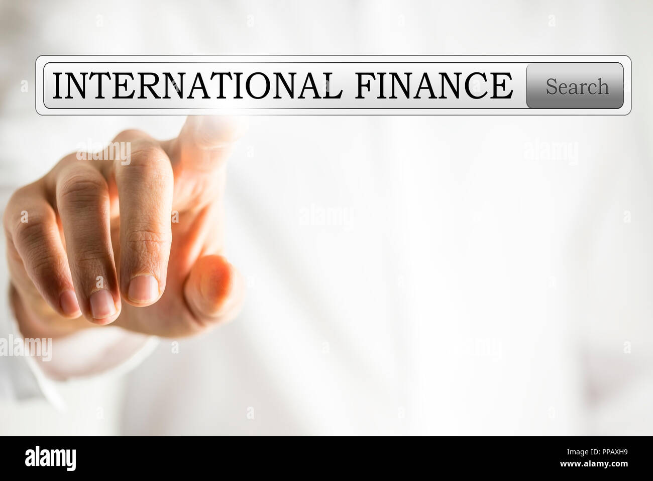 International finance in search box on virtual space. - Stock Image