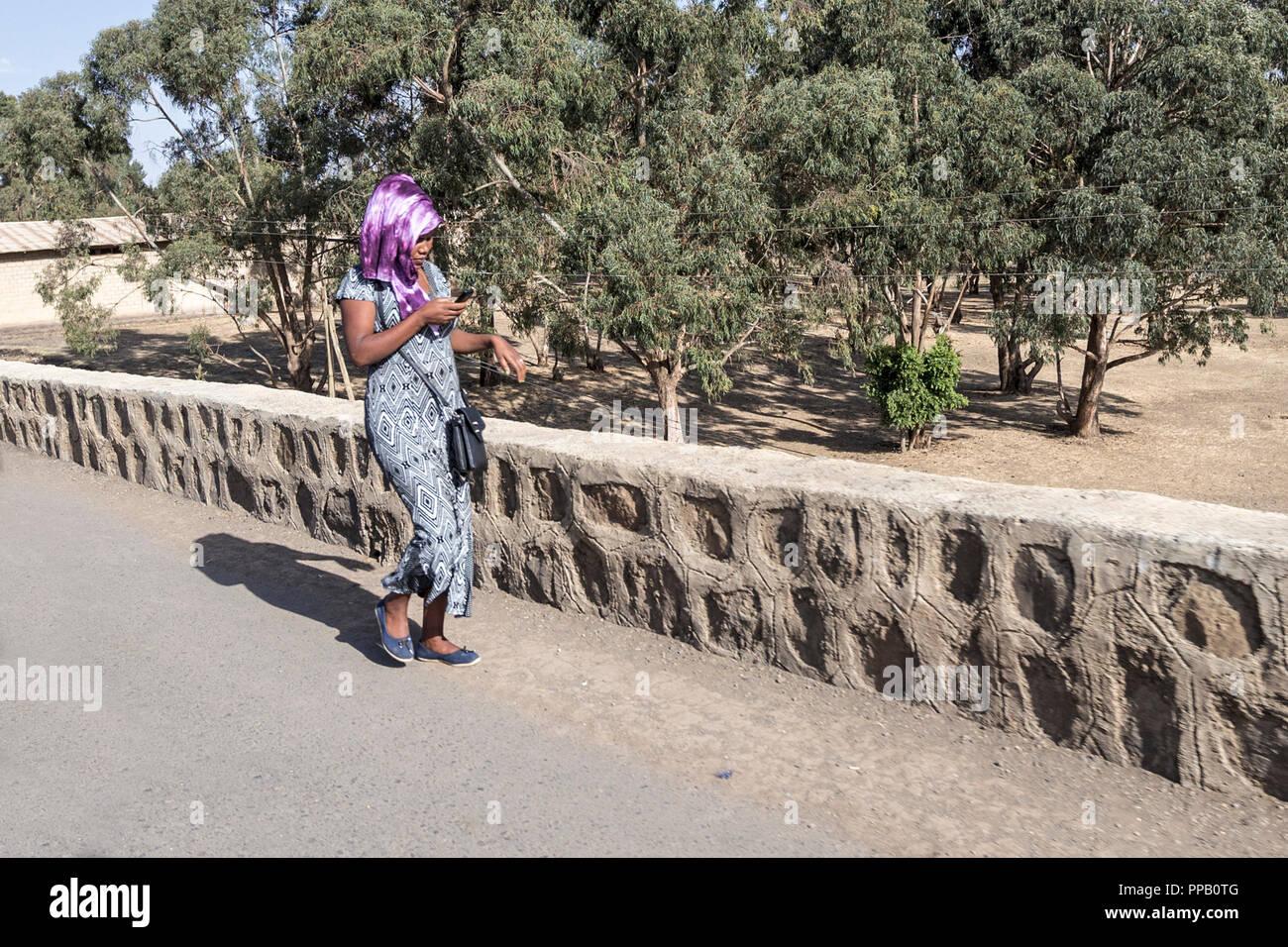 Villages, Amhara Region, Ethiopia, Mobile phone aware! - Stock Image