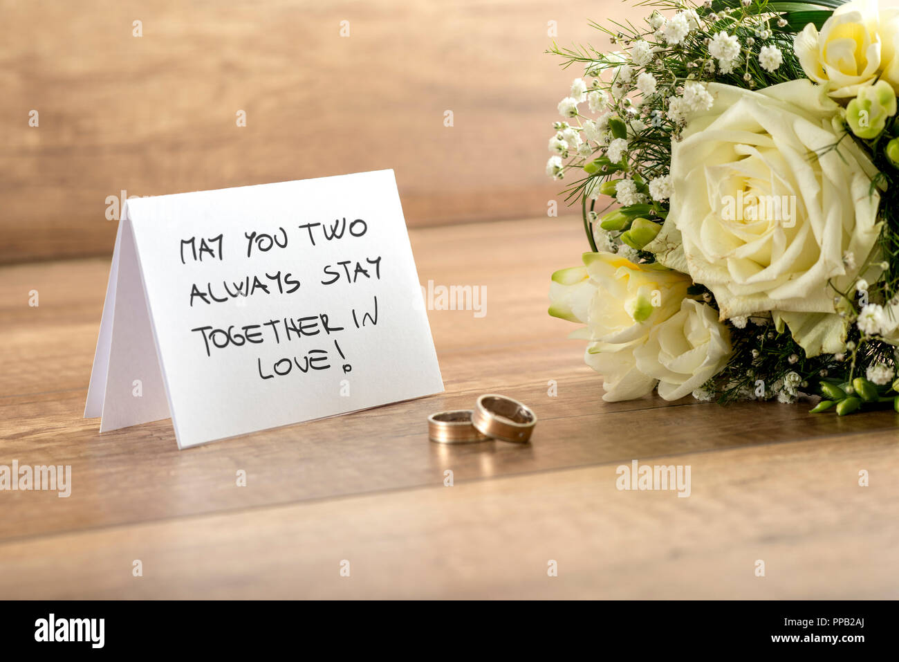Close Up Wedding Greeting Card With May You Two Always Stay Together