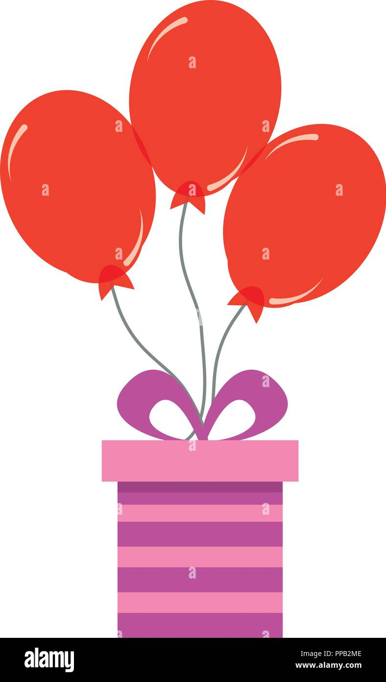 Birthday Gift Box With Red Balloons Decoration Vector Illustration