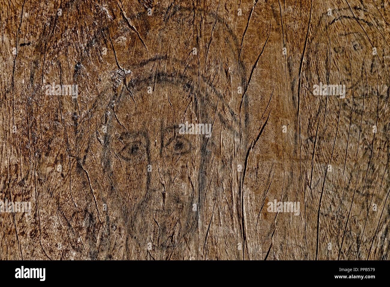 Charcoal drawing of Jesus on wooden door, Ura-Kidane Miheret monastery, Zenge Peninsula, Lake Tana, Ethiopia Stock Photo