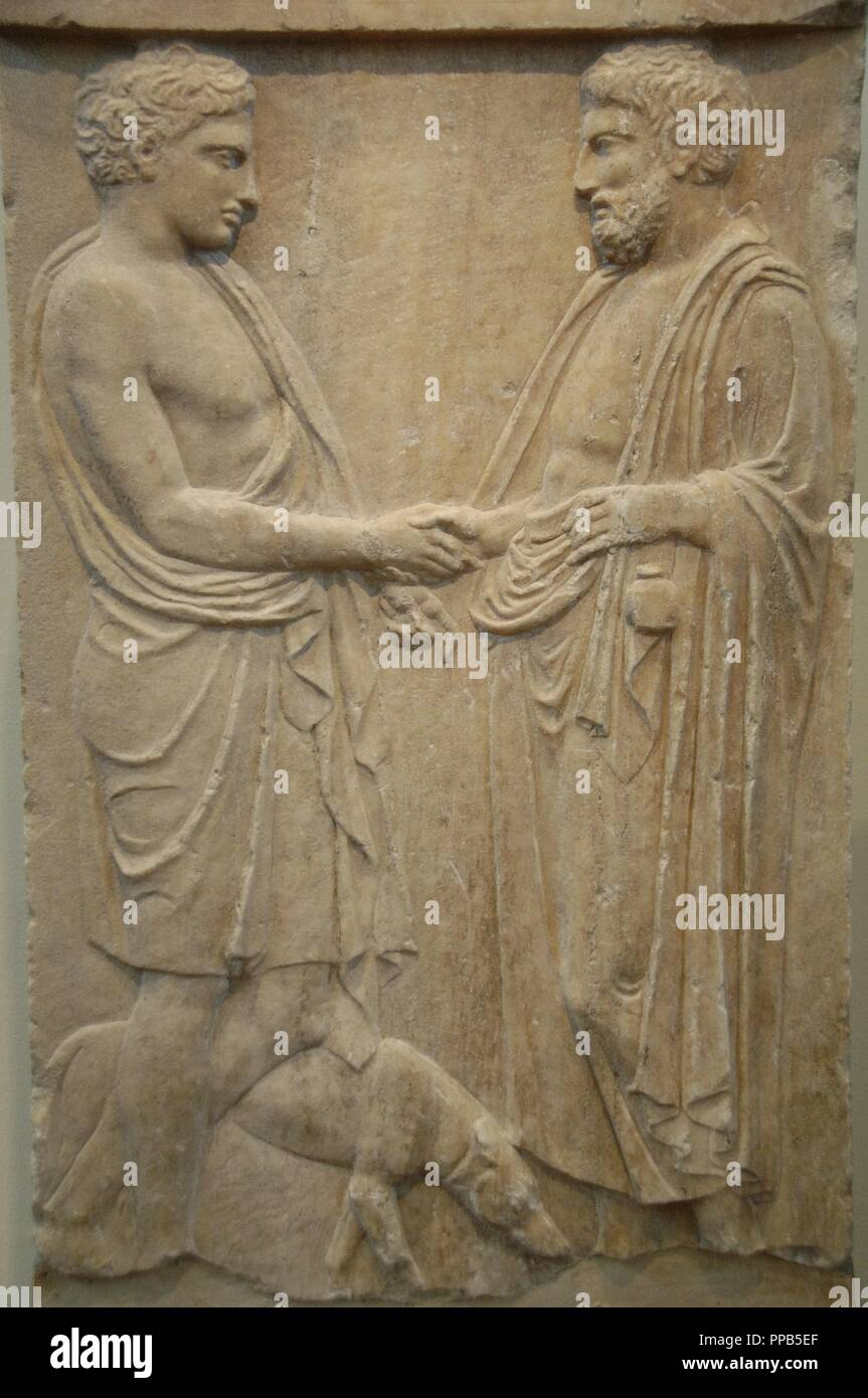 Greek art greece 5th century bce pentelic marble funerary stele greek art greece 5th century bce pentelic marble funerary stele with relief depicting a scene of farewell between a boy and a man found in athens m4hsunfo