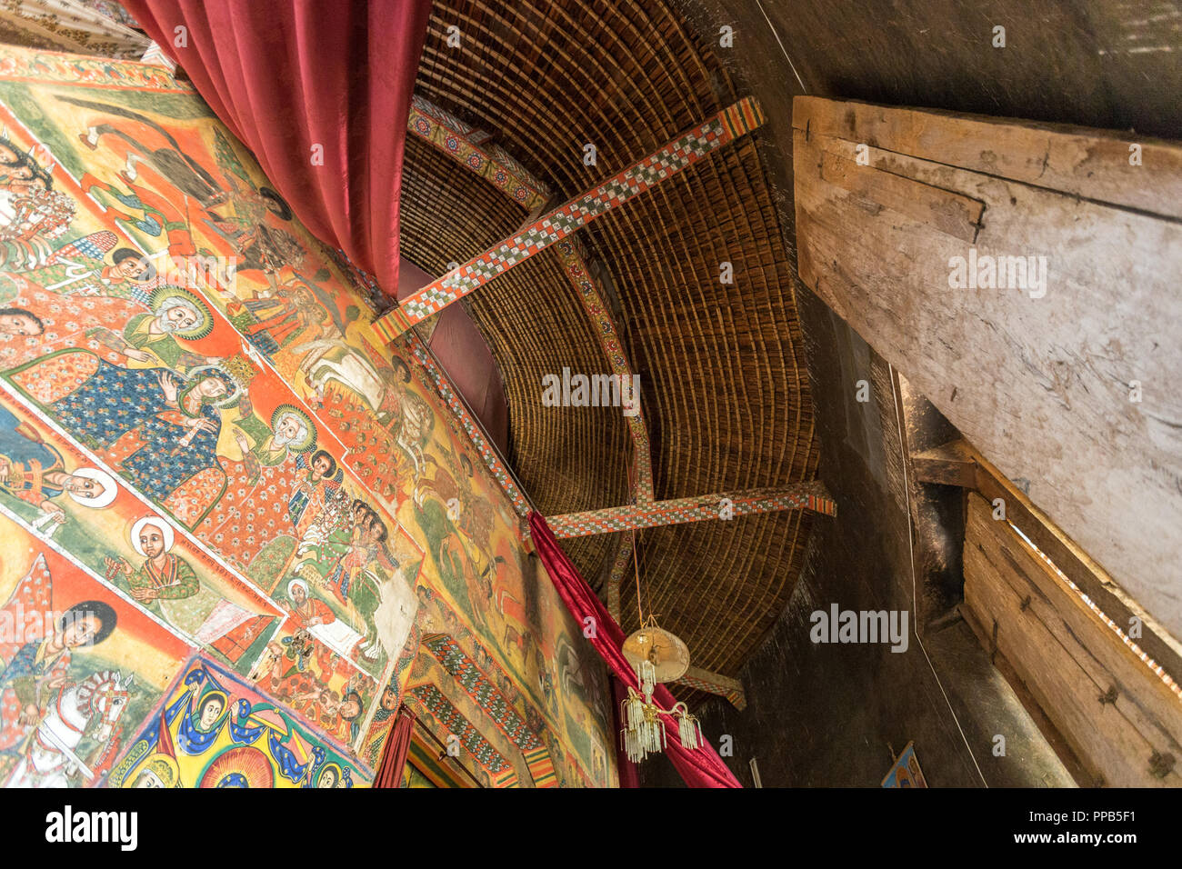 Ceiling and Frescos, Ura-Kidane Miheret monastery, Zenge Peninsula, Lake Tana, Ethiopia Stock Photo