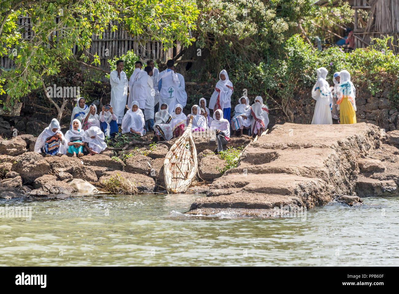 Congregants post Sunday Worship, Lake Tana where Blue Nile merges, Bahir Dar, Ethiopia - Stock Image