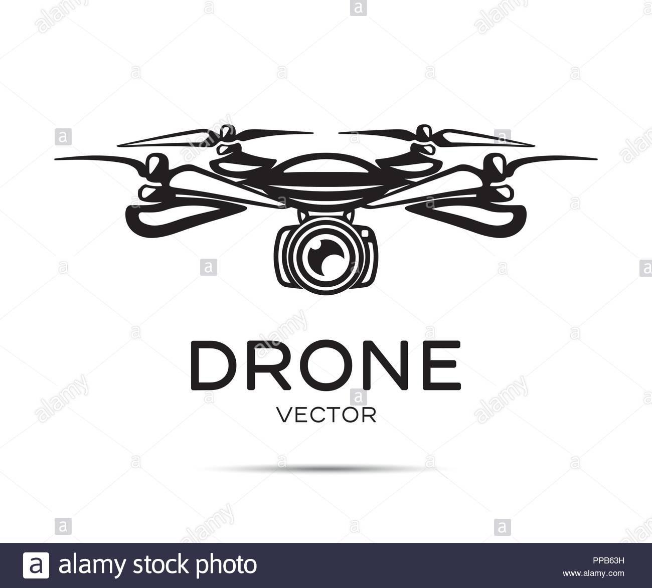 Drone with camera vector silhouette isolated on white background - Stock Vector