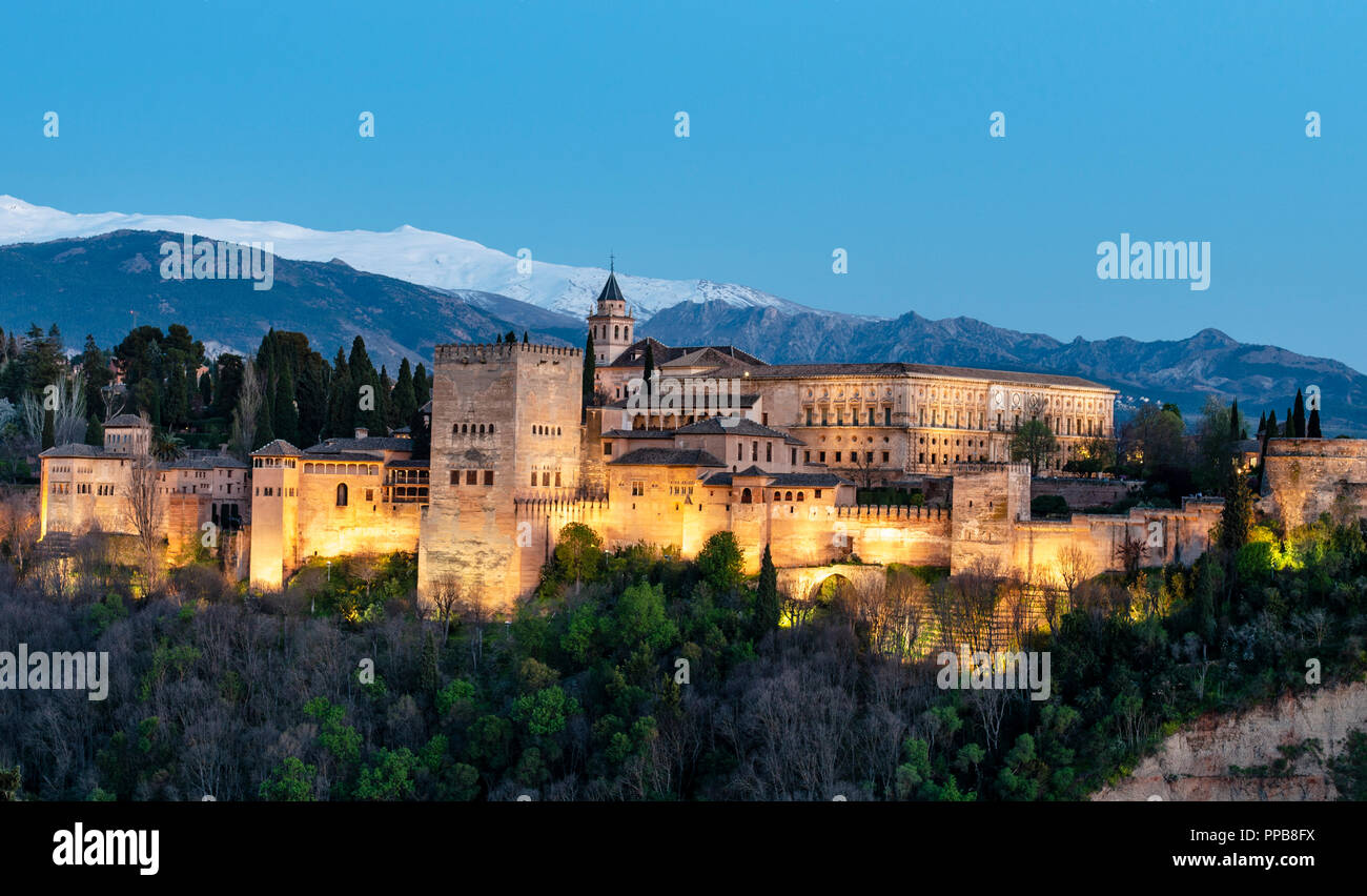 Evening mood, Alhambra on the Sabikah hill, Moorish citadel, Nasrid palaces, Palace of Charles the Fifth - Stock Image
