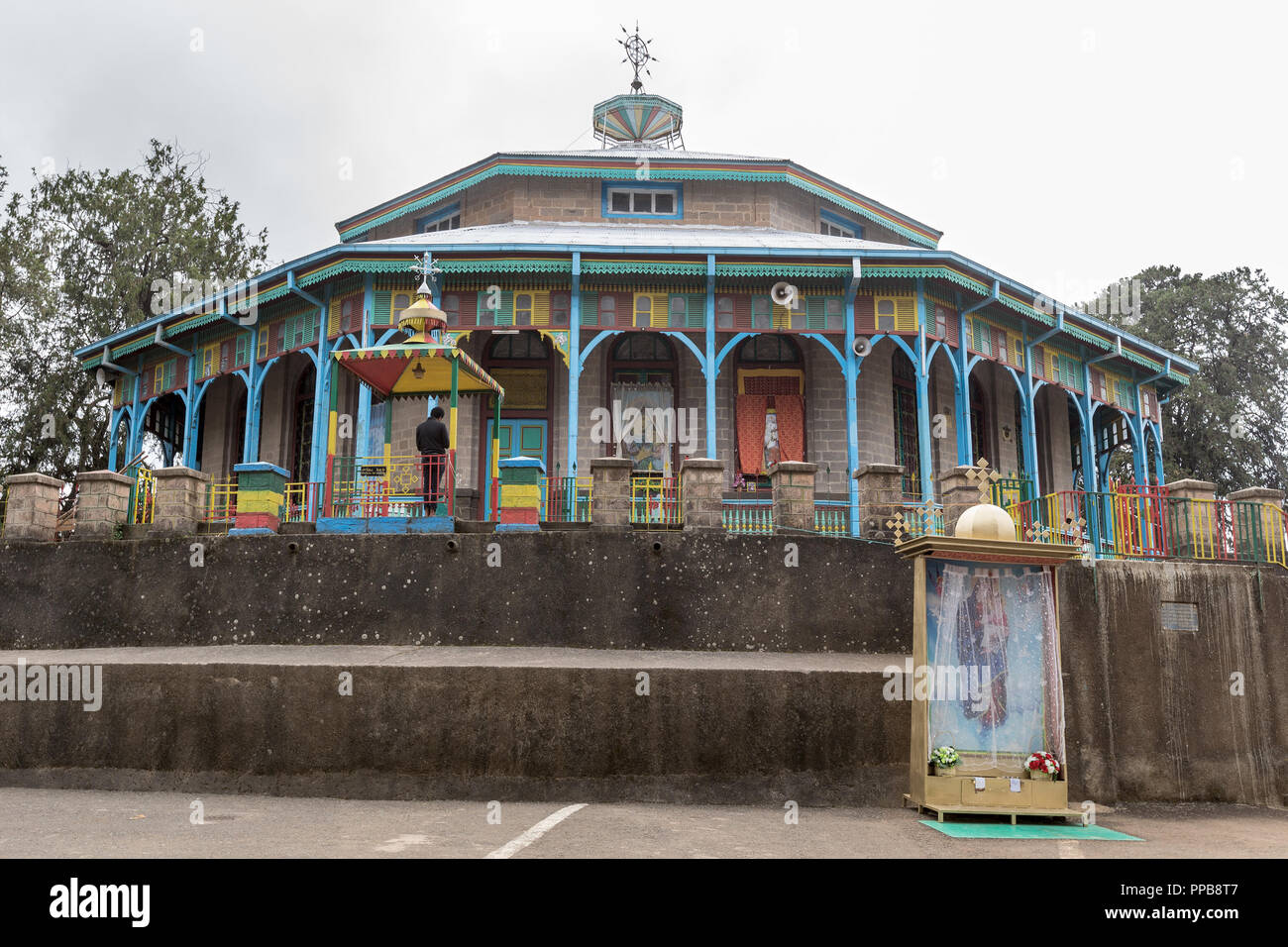 Maryam or St. Mary's Church, Ethiopian Orthodox Tewahedo,  Mount Entoto, Addis Ababa, Ethiopia - Stock Image
