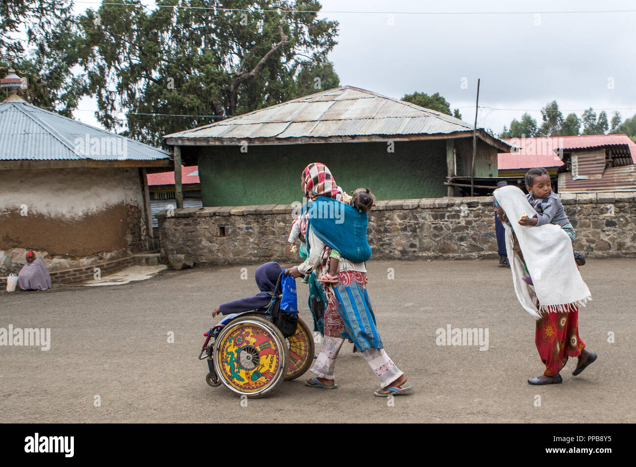 Grounds of Maryam or St. Mary's Church, Entoto Hill, Addis Ababa, Ethiopia - Stock Image