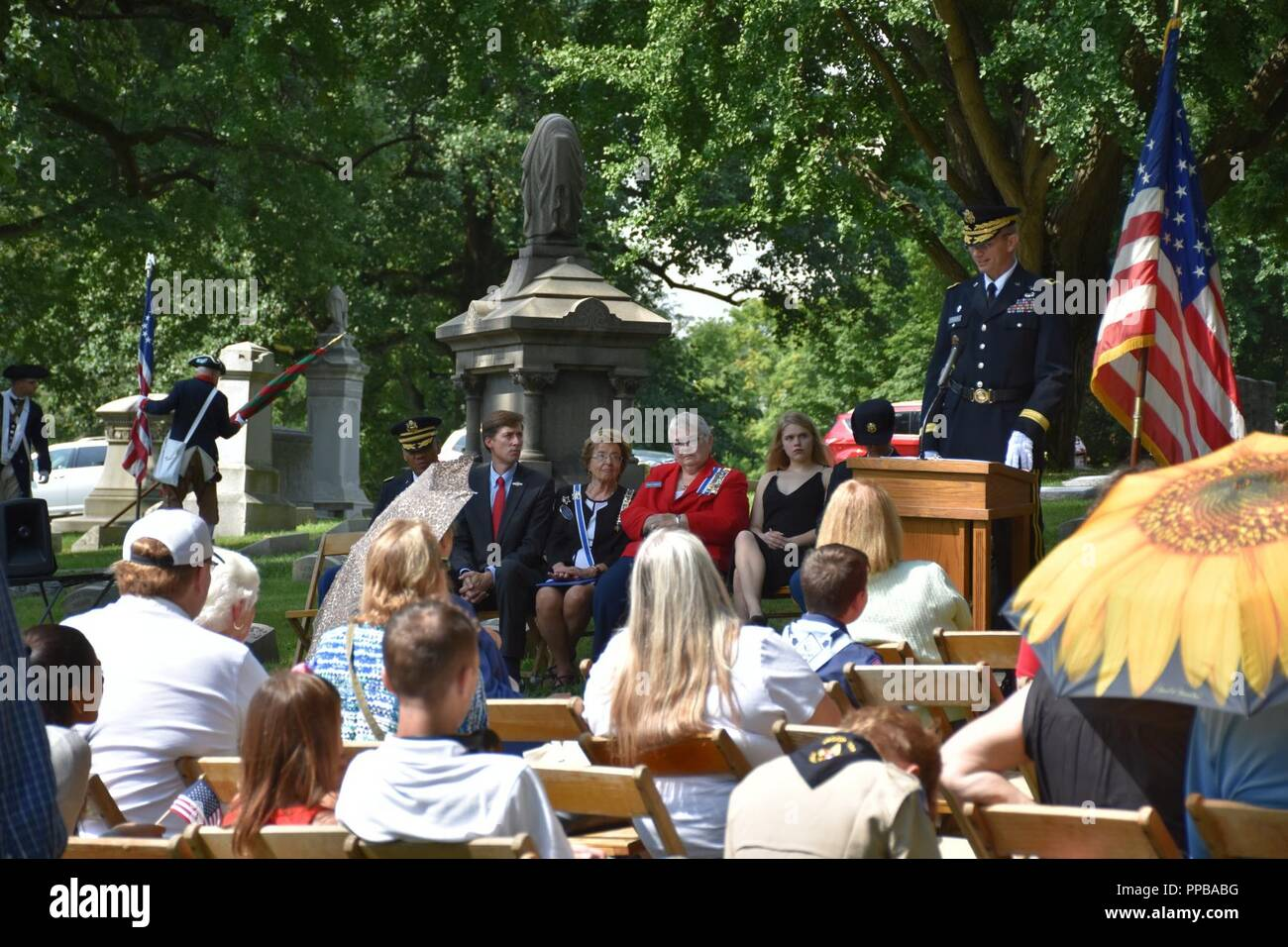 Brigadier Gen. Tony L. Wright, 88th Readiness Division deputy commanding general, addresses the audience during at a wreath laying ceremony for President Benjamin Harrison at Crown Hill Cemetery, in Indianapolis, on Aug. 18, to commemorate the Hoosier President's 185th birthday. (US Army Stock Photo