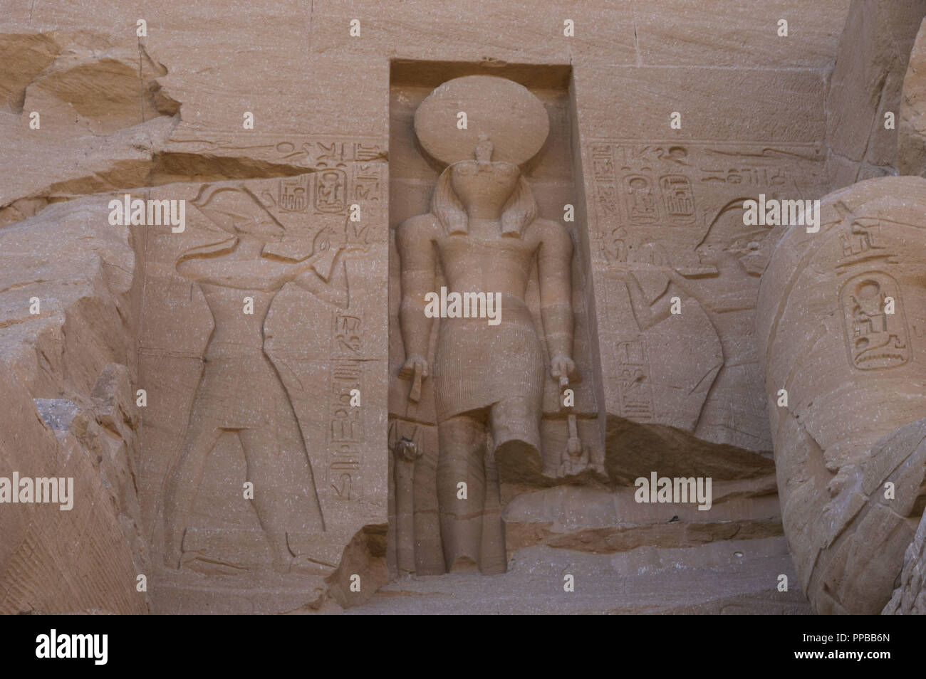 Egyptian Art. Great Temple of Ramses II. Sculpture of the god Ra carved above the entrance of the temple.19th Dynasty. New Kingdom. Abu Simbel. Egypt. Stock Photo