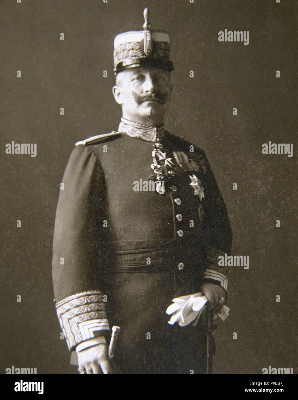 GUILLERMO II (Postdam, 1859-Doorn, 1941). Rey de Prusia y emperador de Alemania (1888-1918). RETRATO DE GUILLERMO II. Reproducción de fotografía. - Stock Image
