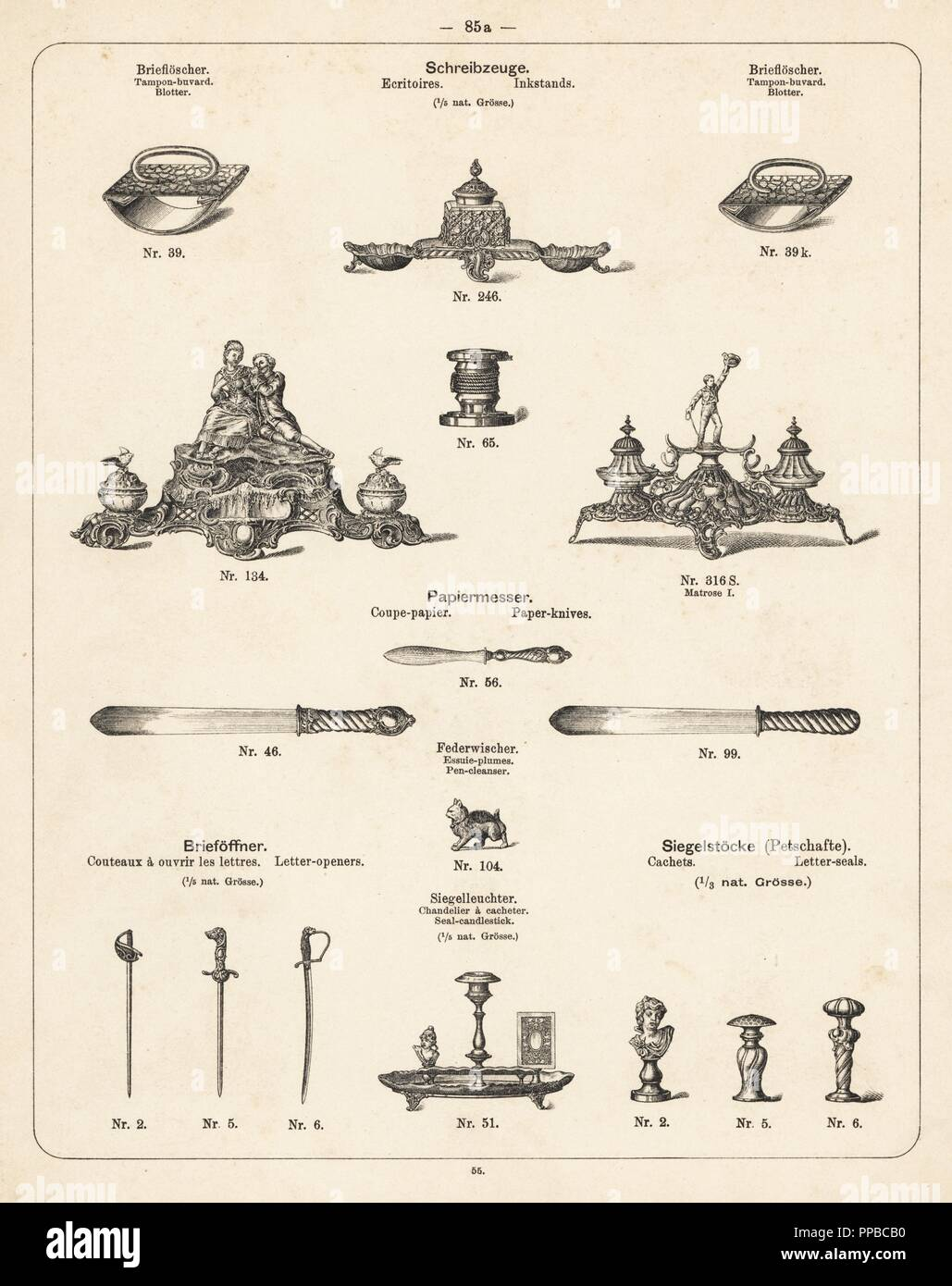 Inkstand, blotter, paper knife and letter opener. Lithograph from a catalog of metal products manufactured by Wuerttemberg Metalware Factory, Geislingen, Germany, 1896. - Stock Image