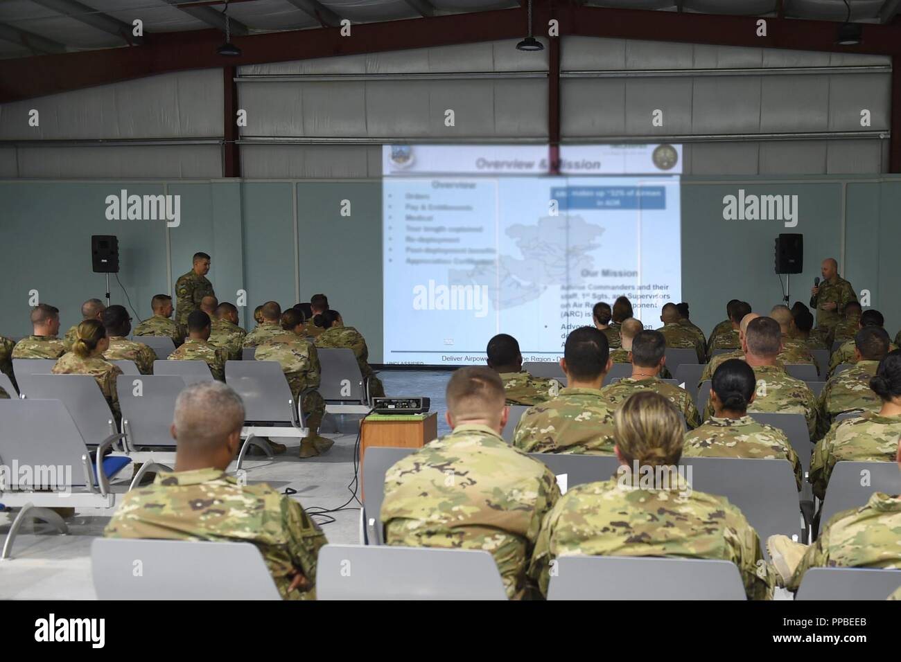 Lt. Col. Andrew Frankel (left), Deputy Air Reserve Component advisor and Col. Cory Reid (right), Senior ARC advisor, speak to Air Reserve and Air National Guard members deployed to the 407th Air Expeditionary Group at a town hall meeting at an undisclosed location in Southwest Asia, Aug. 24, 2018. Frankel and Reid met with ARC Airmen and 407th AEG leadership at all levels to make sure they had a complete understanding of what ARC Airmen bring to the fight and address any concerns ARC members may have while deployed. Stock Photo