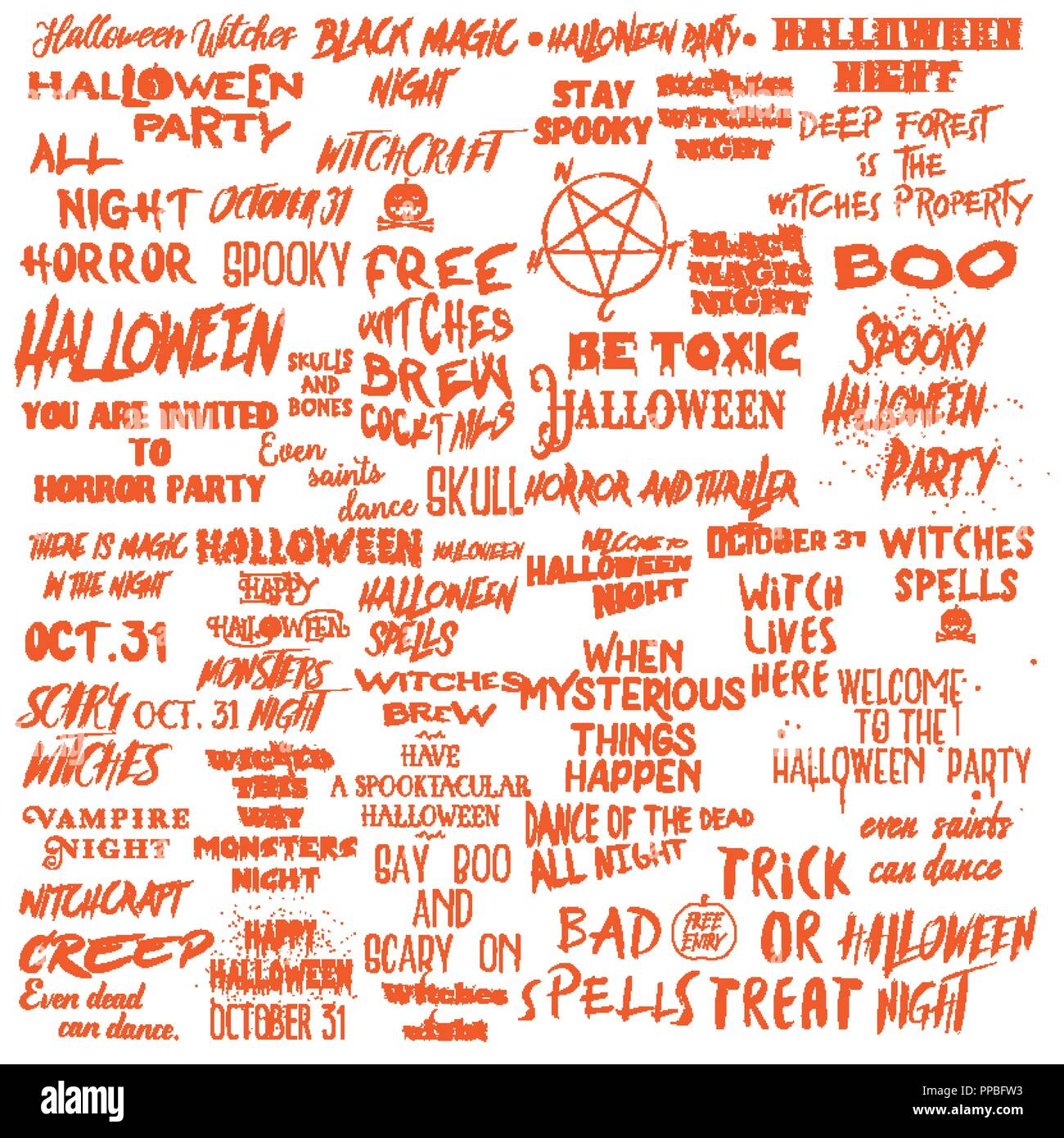 Halloween Phrases.Set Of Halloween Quotes For Posters About Halloween Party And Scary Phrases For Greeting Card Printable Wall Art Designs And Flyers Different Font Ca Stock Vector Image Art Alamy