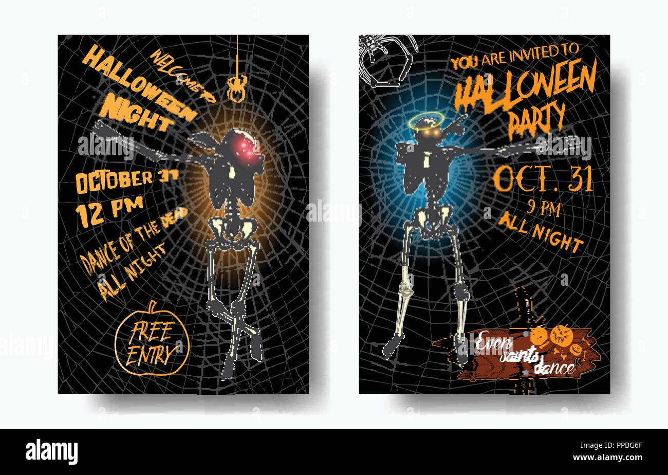 halloween set of vertical background with skeletons dancing dab
