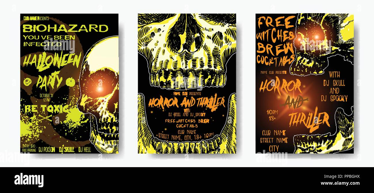 Set of hand drawn toxic and thriller Halloween celebration