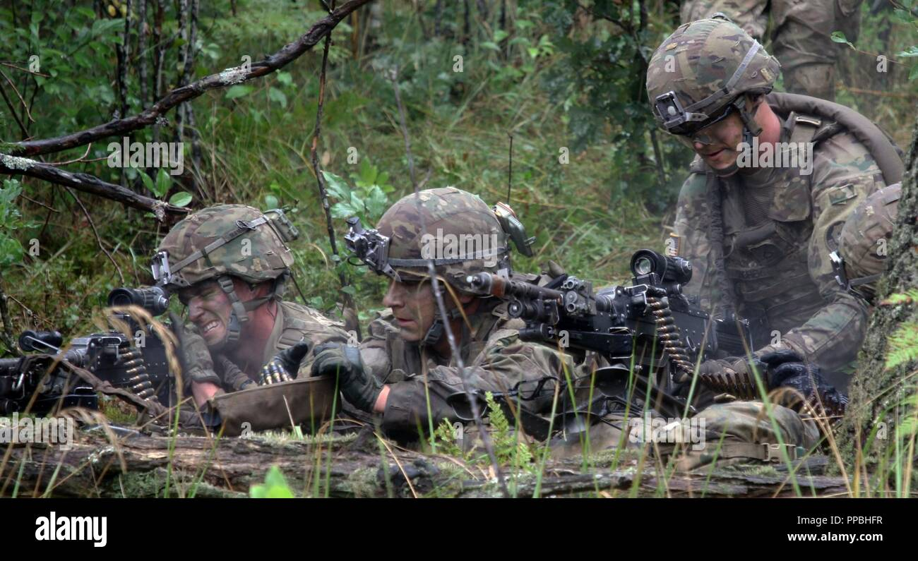 Infantrymen with the 1st Squadron, 2nd Cavalry Regiment provide suppressive fire with M240B machine guns for their team during a joint combined arms live fire exercise Aug. 26-30 at Bemowo Piskie Training Area, Poland. The CALFEX is designed to maintain readiness and build interoperability among BPTA Soldiers. The Soldiers are on a six-month rotational assignment in support of the multinational battle group comprised of U.S., U.K., Croatian and Romanian Soldiers who serve with the Polish 15th Mechanized Brigade as a defense and deterrence force in northeast Poland in support of NATO's Enhanced Stock Photo