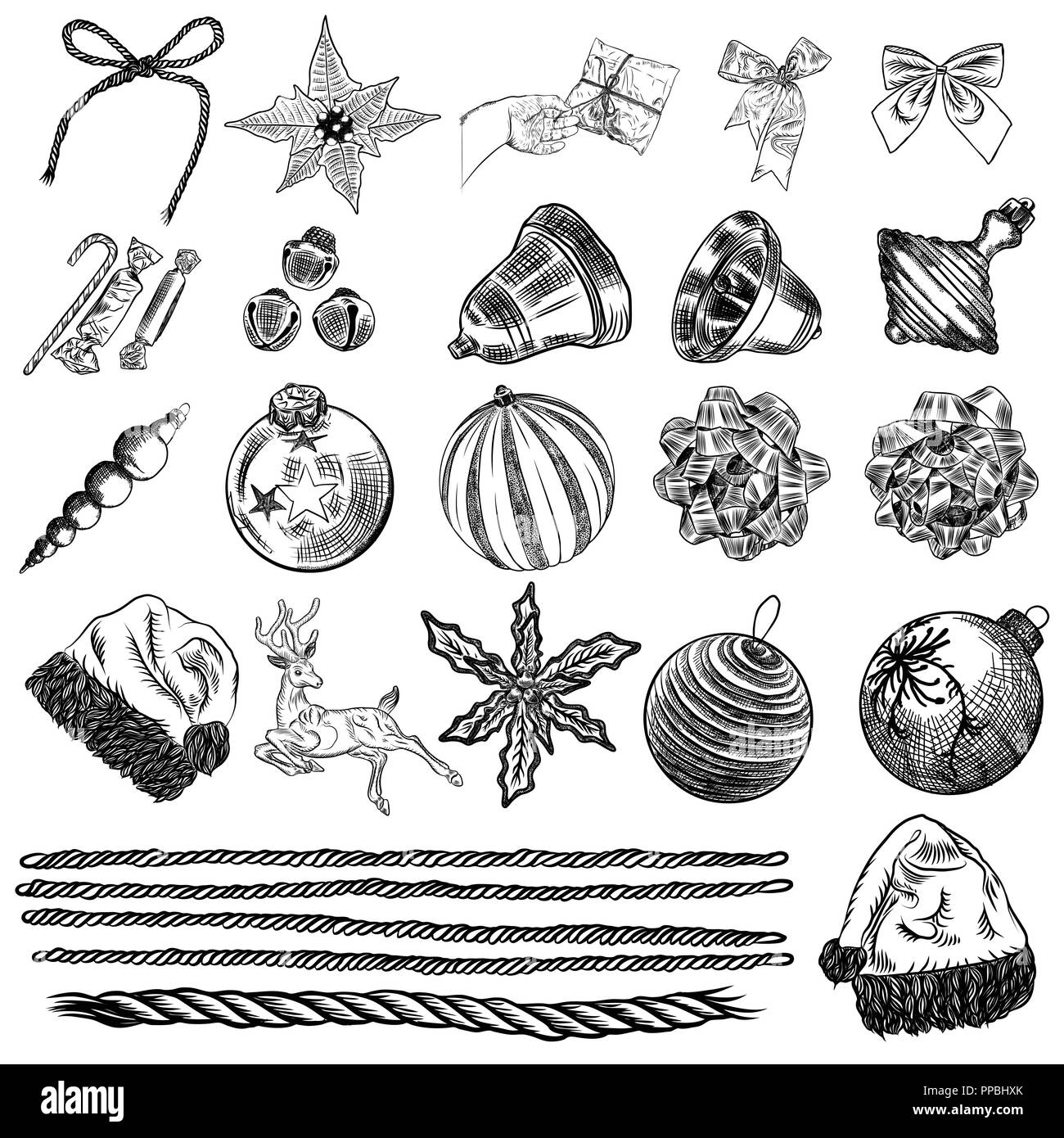 Diy Design Objects: Set Of Christmas Hand Drawn Icons. Xmas Engraved Objects